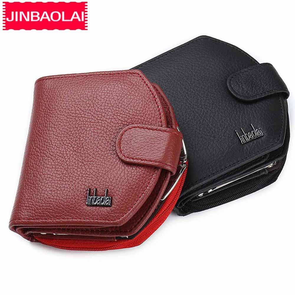Jinbaolai Frau Geldbörsen Mode Leder Reißverschluss Bargeld für kleine Geldbörsen Echte Münz Clip Pocket Klassische Drei Geldbörsen Frau Falten VVJXX