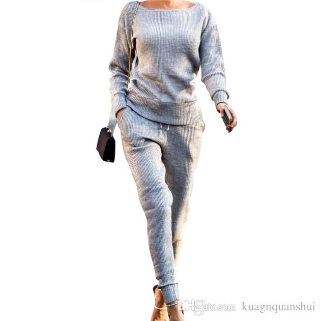 New Casual Round Neck Sports Suit Women's Clothing Two Piece Set Women Tracksuits Female Set 2 Pieces Top and Pants Sportswear Free Shipping