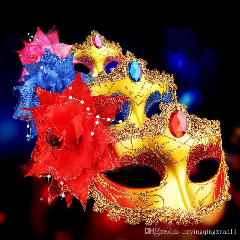 Sexy Diamond Venetian Mask Venice Feather Flower Wedding Carnival Party Performance Sex Lady Mask Masquerade Halloween Decor
