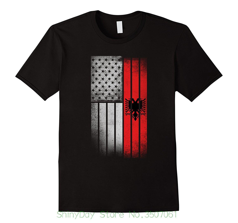 Brand Cotton Men Clothing Camiseta Slim Fit Camiseta Bandera Albania Americana - Usa Albania Flag Camiseta