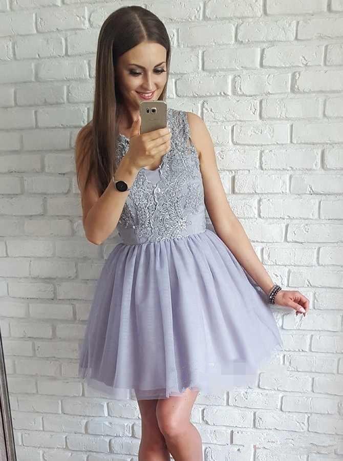 A Line Tulle Mini Short Homecoming Dresses 2018 V Neck Lace Applique Zipper Back Graduation Cocktail Party Gowns