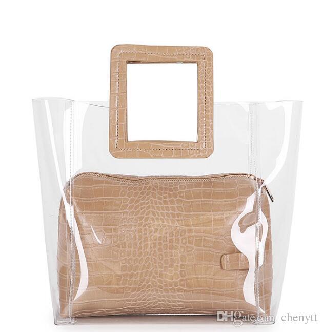 2018 صيف جديد أنيق جوكر الحد الأدنى في الغلاف الجوي حقيبة الرجعية حقيبة الكورية حقائب اليد السيدات أزياء شفافة بو