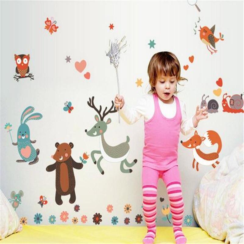 Amovible Petits animaux Oiseau Hibou Stickers Muraux Chambre Stickers muraux pour enfants Chambres Chambre bébé Décoration Stickers muraux