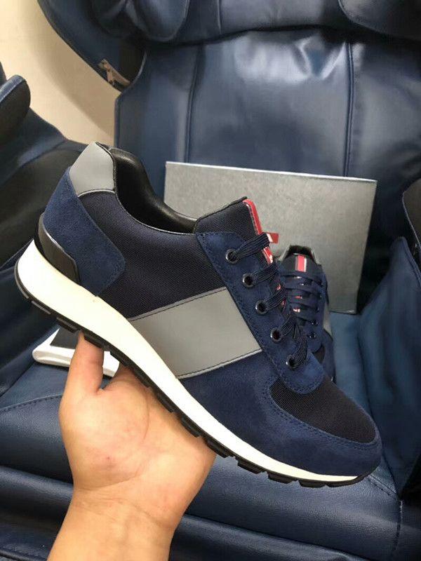 Prada shoes Walking casuale formatori Party Dress xg18043007 Luxury Shoes Arena scarpa da tennis Runner rosso della maglia Balck pelle Kanye West Race Runners maschile