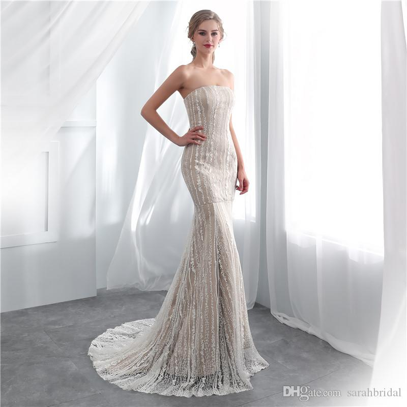 2019 Cheap bateau neck Wedding Dresses with full lace Pearls lace up Elegant A line wedding dress in store hot sell Bridal Gowns