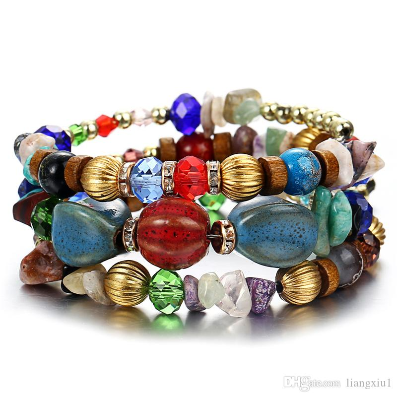 Color yoga chain Turquoise agate beaded multi-layer winding bracelet beads 12 colors natural stone yoga chain anklet