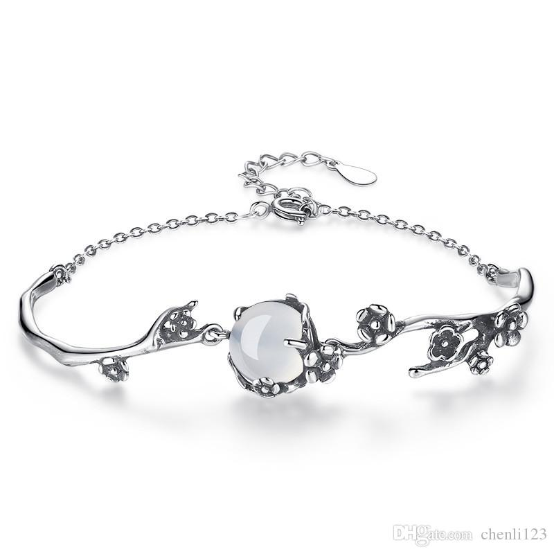 Antique Silver Crystal Vintage Flower Stretch Bracelet Women Ladies Gift Jewelry