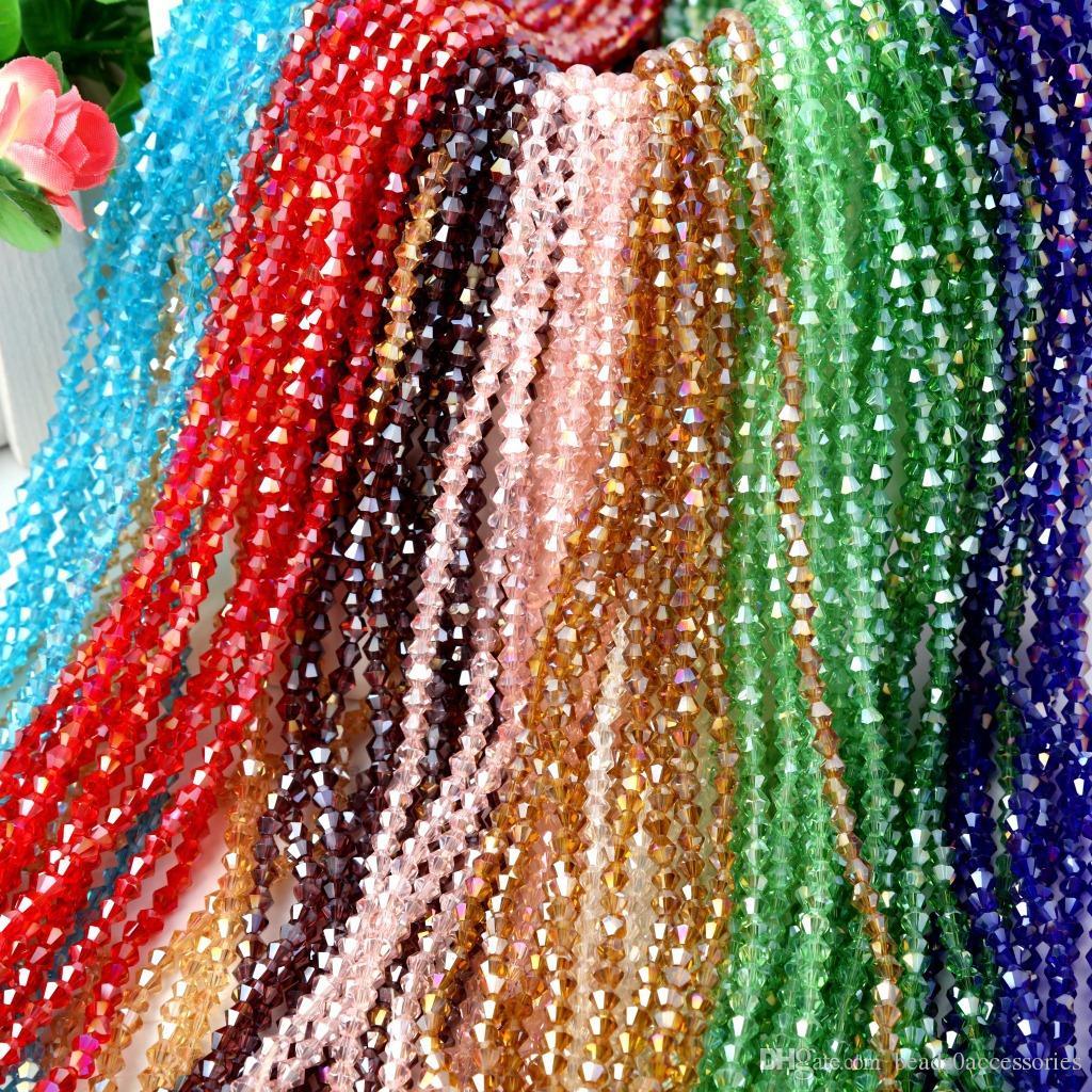 Vente Mélange Couleur Crystal Cristal Bicone Beads 4mm 6mm Perles Lâche Bijoux DIY