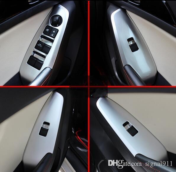 Высококачественный хром ABS 4шт переключатель подъема стекла двери автомобиля декоративных потертости крышка, Ограждение панели для Mazda3 Axela 2014-2016