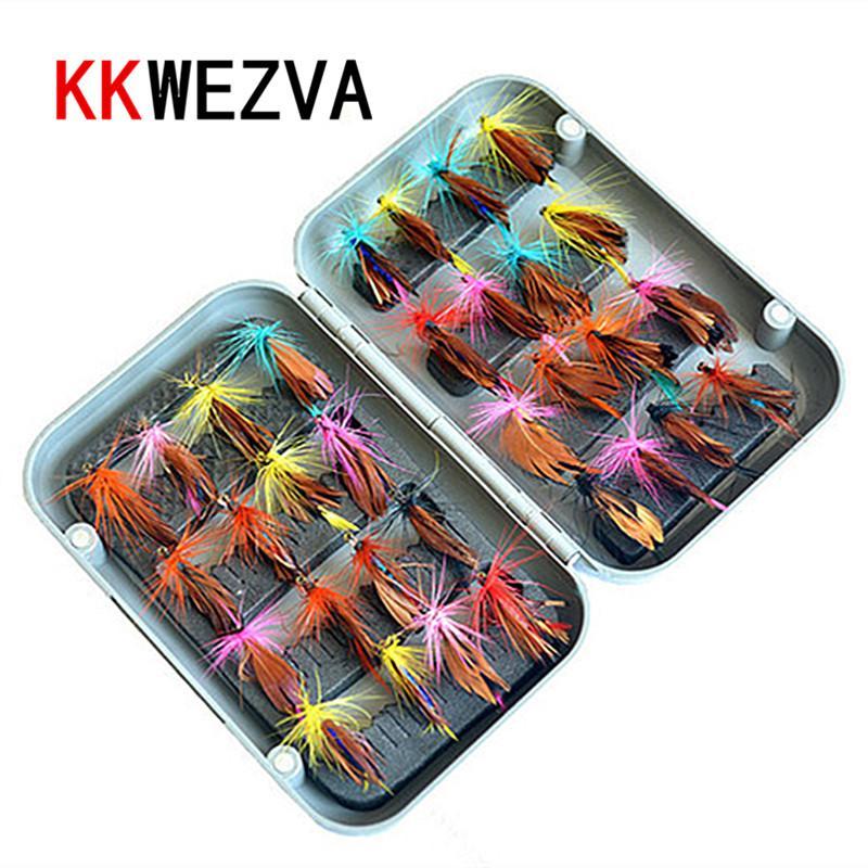 KKWEZVA 32 stücke Boxed Fliegenfischen Köder Set Künstliche Köder Forelle Fliegenfischen Lockt Haken Angelgerät mit Box Schmetterling Insekt