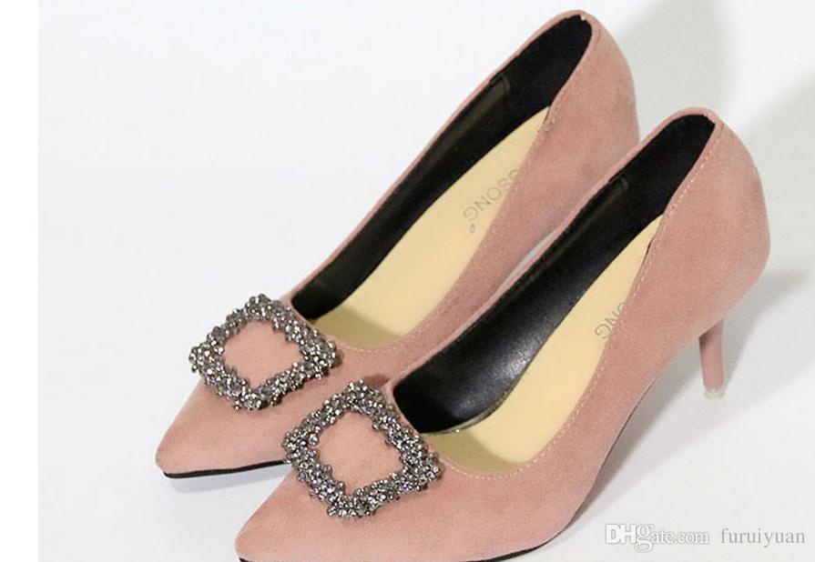 Бесплатно отправить туфли на высоком каблуке женщины мелкий рот острым концом тонкой пятки Алмаз квадратная пряжка мода один обувь пятки высокие 10 см, 7.5 см, 5 см