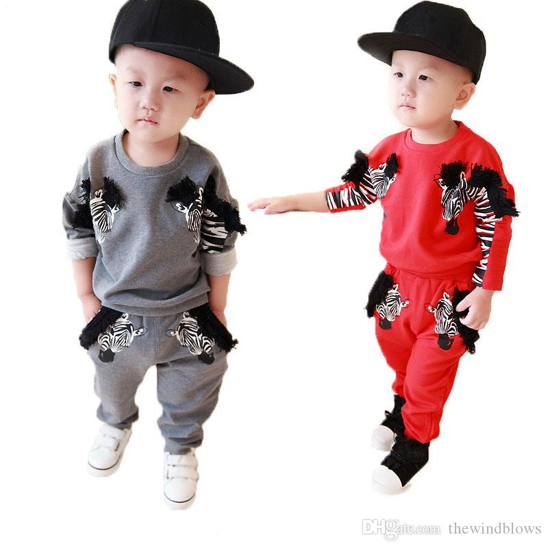 ملابس الطفل مجموعة ربيع الخريف زيبرا الرياضة البدلة للبنين الكرتون الزي طفل ملابس الاطفال boygirl الملابس