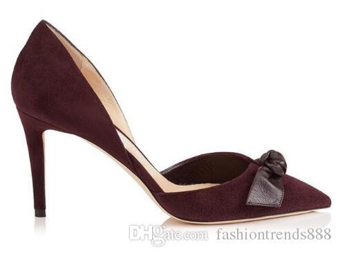 2018 Yeni varış kadın bordo pompaları ince topuk parti ayakkabı papyon pompaları noktası toe yüksek topuklu şarap kırmızı elbise ayakkab ...