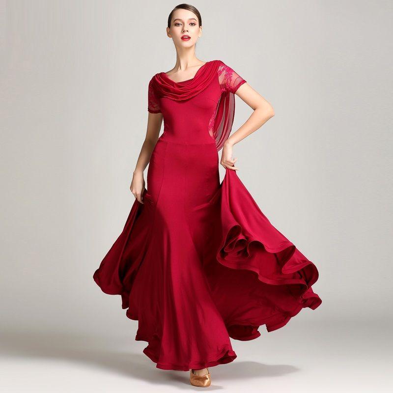 Laço vermelho vestidos de dança de salão de baile valsa vestidos para roupas de dança valsa foxtrot flamenco trajes de dança moderna