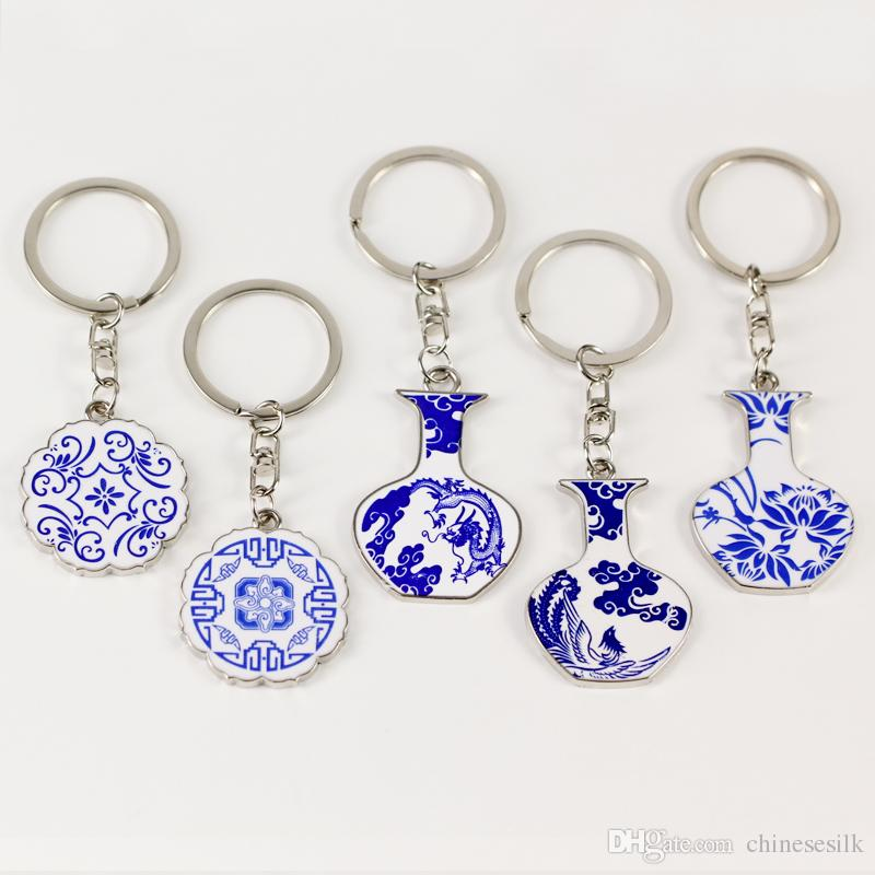 Blue and white porcelain Personalized Keychain Gift Vintage Keyring Chinese Metal Zinc Alloy Accessory Key Pendant Charms 2pcs/lot