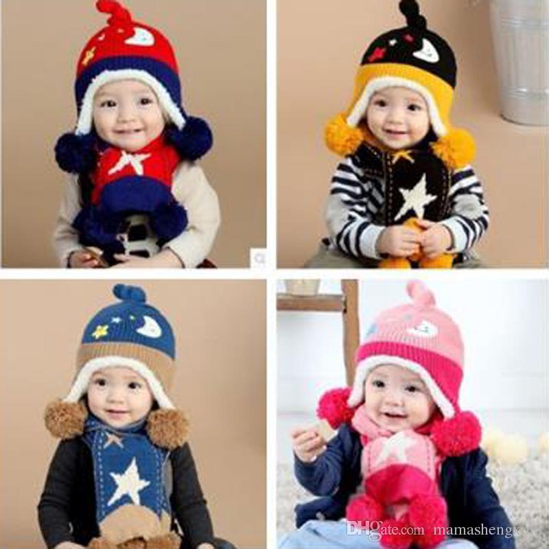 Yeni Kış Bebek Peluş Şapka Çocuklar Pamuk Şapka Kapaklar Erkek Kız Yıldız Ay Şapka Eşarp Yün Kadife Takım Elbise