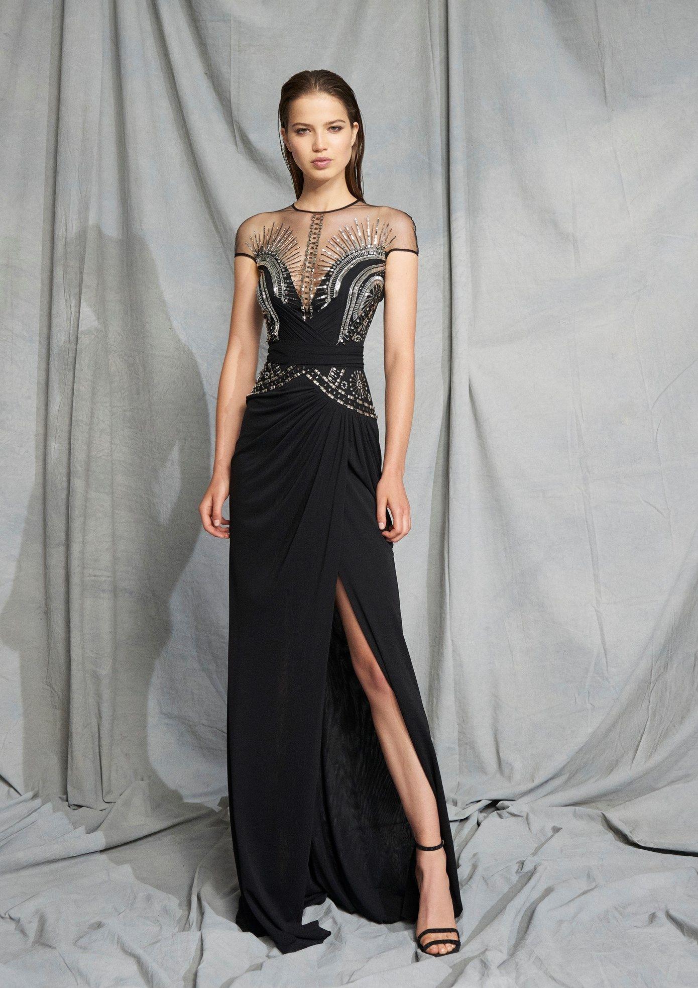Zuhair Murad Schwarz Promkleider Jewel Ausschnitt mit kurzen Ärmeln wulstige Sequined A Line Side Split-Abend-Kleid-formale Partei-Kleider