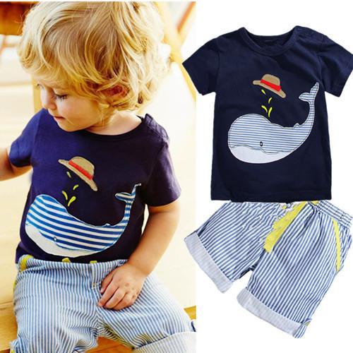 Nouveaux vêtements pour enfants garçons été Whale T-shirt + rayé shorts costume de sport marque enfants garçon bébé enfants tenues