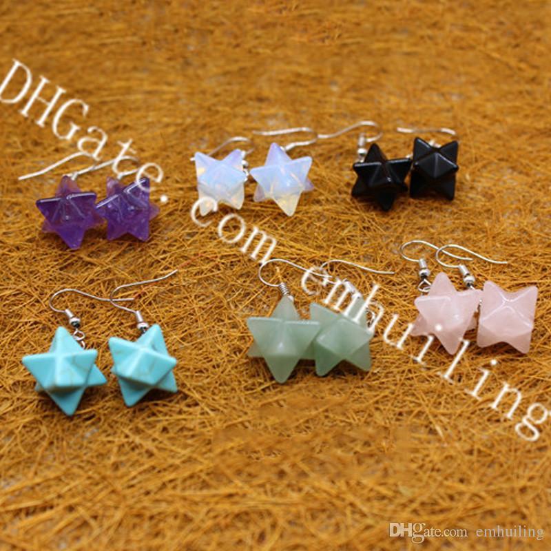10 paia naturale semi preziosa pietra guarigione cristallo chakra merkaba orecchini stella per le donne geometria sacra stella tetraedro gioielli ebraici