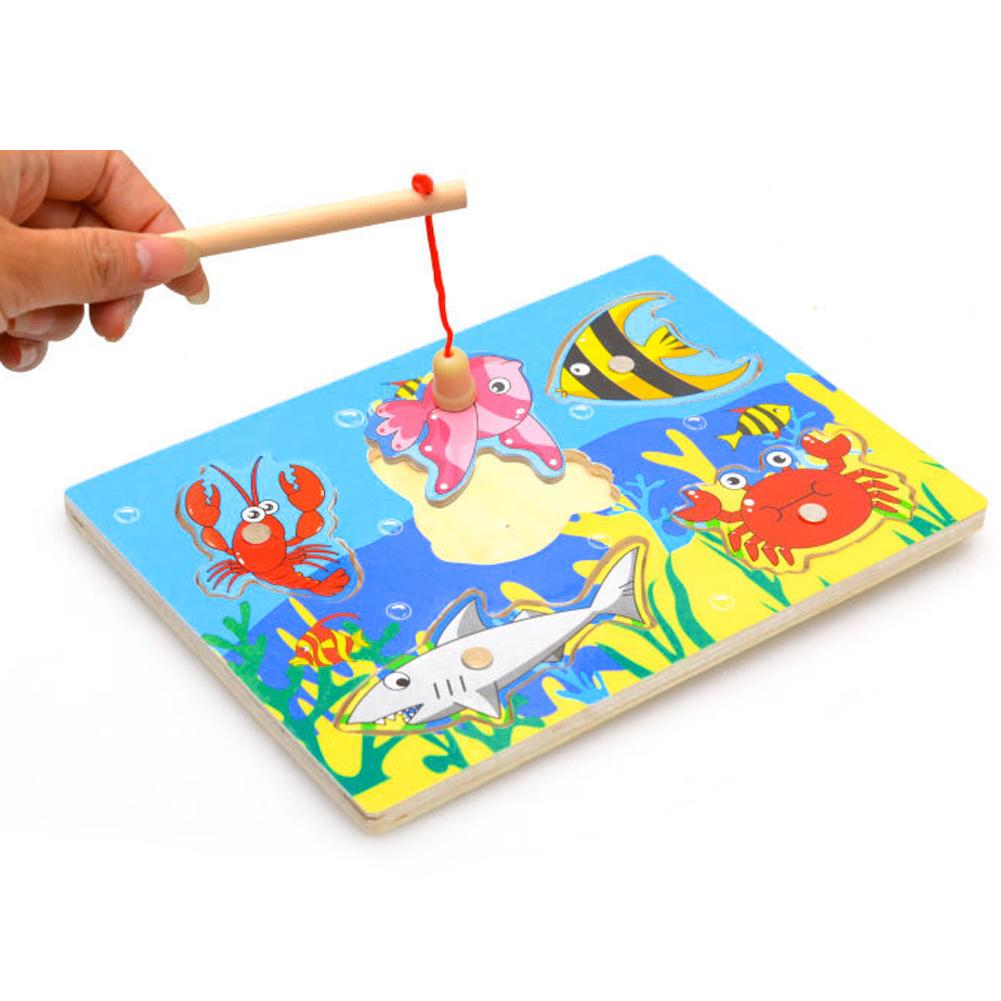 3 Pcs Wholesale Wooden Magnetic Fishing Game 3D Jigsaw Funny Baby Kids Interactive Puzzles Toys