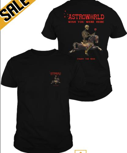 Travis Scott Astroworld 2018 Shirt Wish You Were Here Black Classic T Shirt Mens 2018 Fashionable Brand 100%cotton Printed Round Really Cool