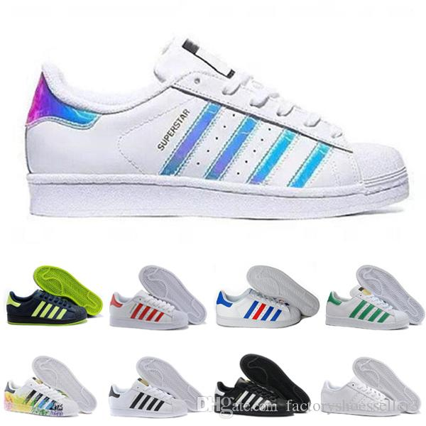 Originaux Hot Super Star Femmes Hommes Sport Sneakers Chaussures Superstar Blanc Hologram Iridescent junior Superstars des années 80 Fierté Sneakers 36-44