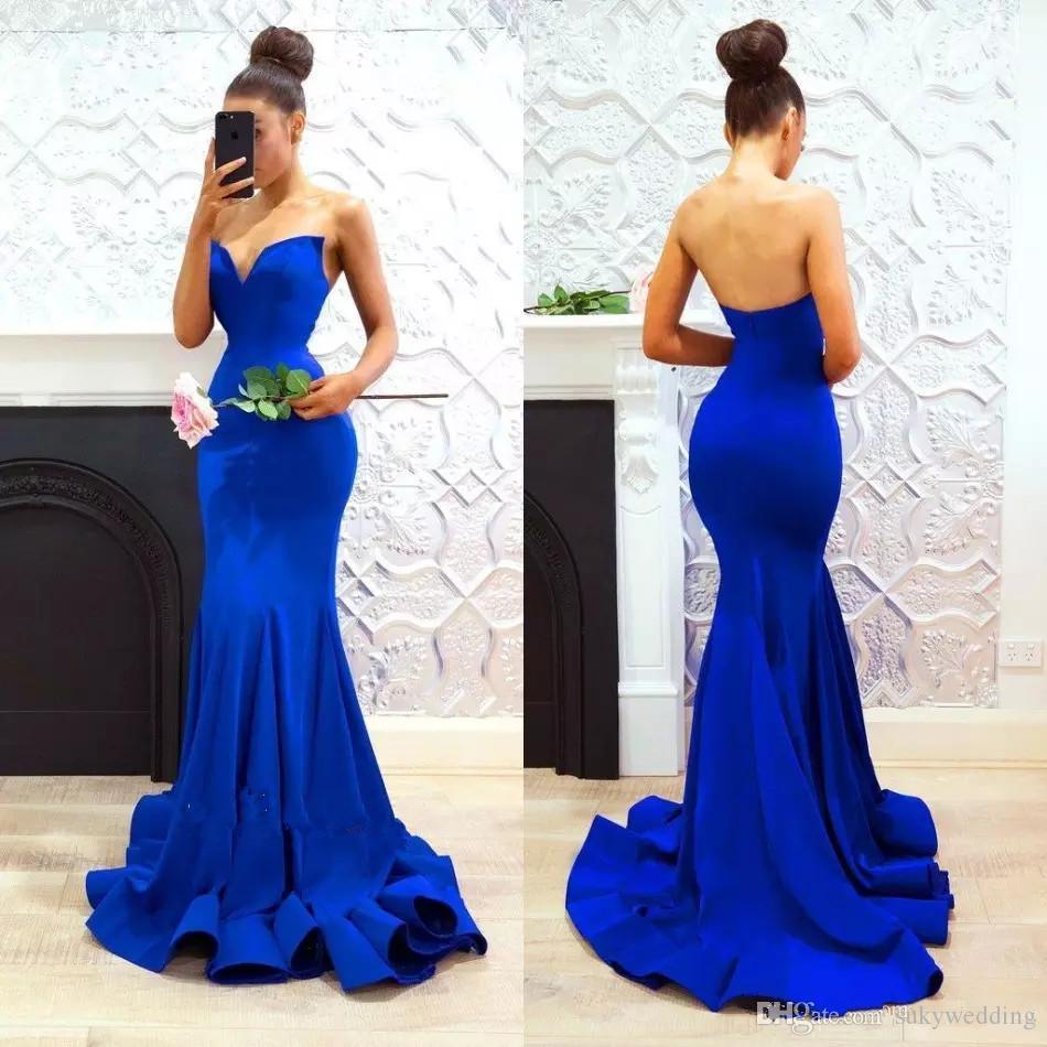 Vestido Para Madrinha De Casamento Vestidos Baratos Dresses Prom Real Partido Da Sereia Azul Com Longas Ruffles Saias Querido Traseira Aberta Vestidos