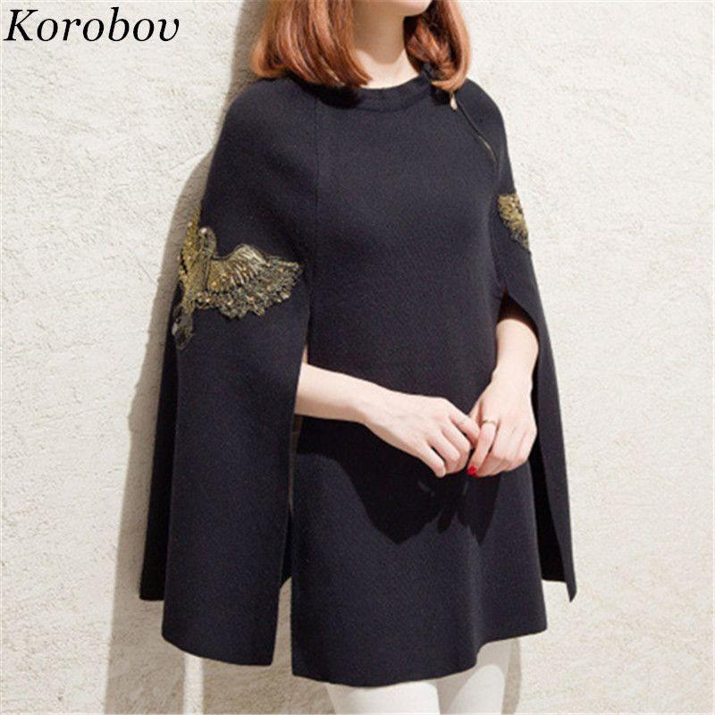 2018 Neue Ankunft Frauen Strickwaren Autum Winter Oansatz Mantel Pullover Fledermaus Ärmel Cartoon Stickerei Korean Mujer Pullover 75786