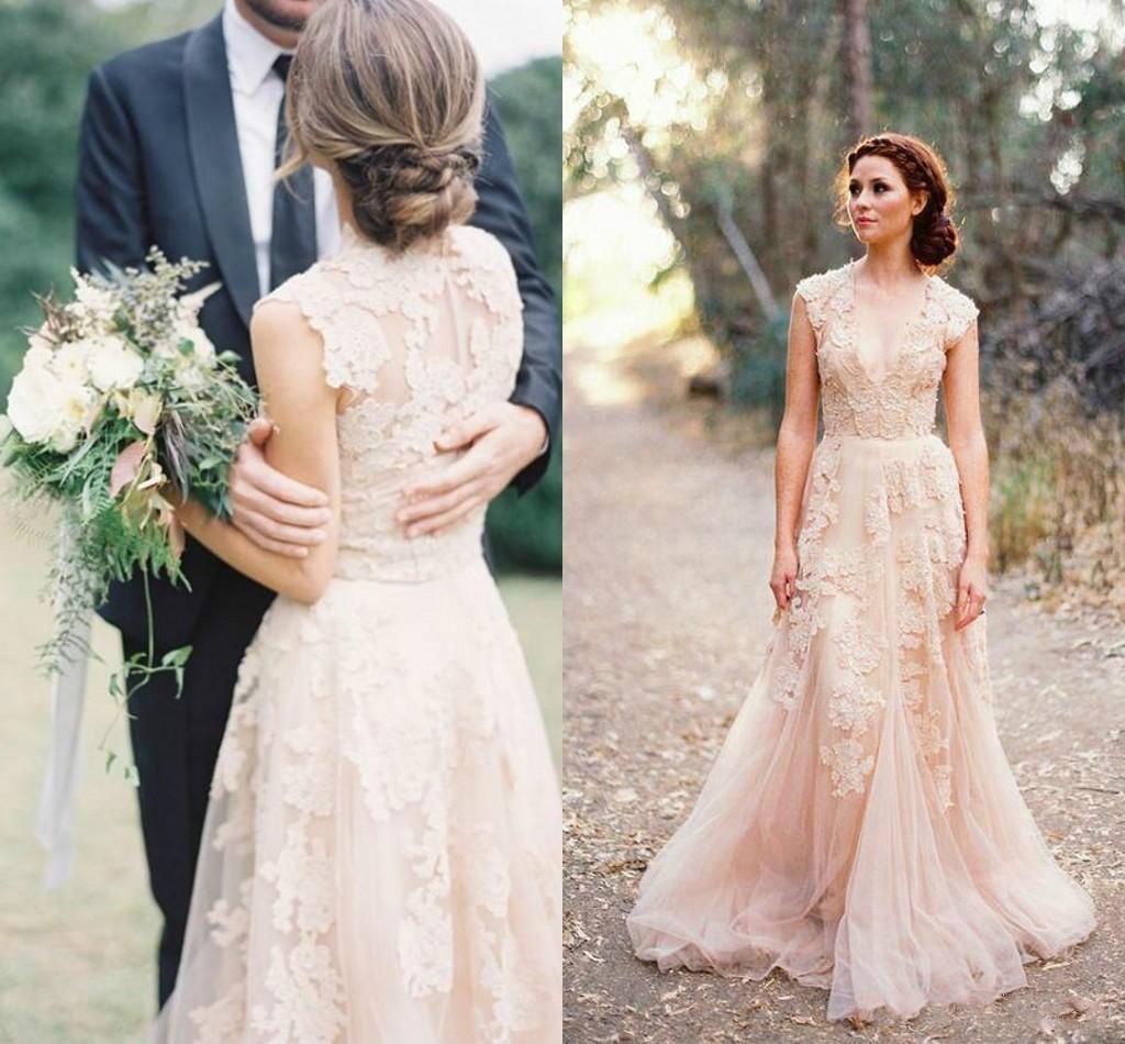 Großhandel 16 A Linie Brautkleider Deep V Cap Sleeves Rosa Spitze  Applique Tulle Sheer Günstige Vintage Reem Acra Neueste Erröten Hochzeit