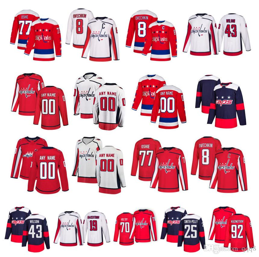 promo code 1c6e0 24a53 2019 Customized Washington Capitals Jersey Alexander Ovechkin Devante Smith  Pelly TJ Oshie Holtby Tom Wilson Backstrom Kuznetson Stitched Hockey From  ...