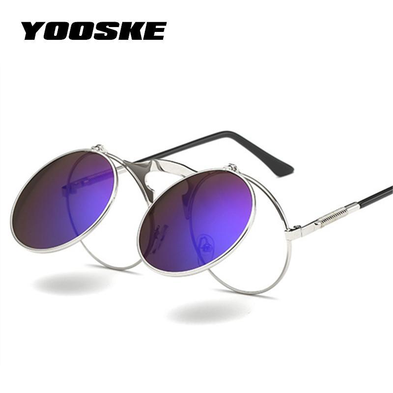 Steam Retro Eyewear Sunglasses Punk Sun Metal Frames Men Round Glasses Women UV400 Vontage YOOSKE Steampunk Moaeh