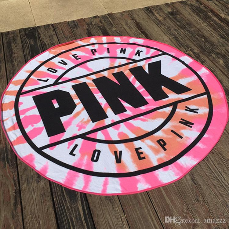 160cm Pink Round Beach Towel Microfiber Absorbent Quick Drying Towels Swimming Bath Sports Towels Picnic Blanket Outdoor Mat