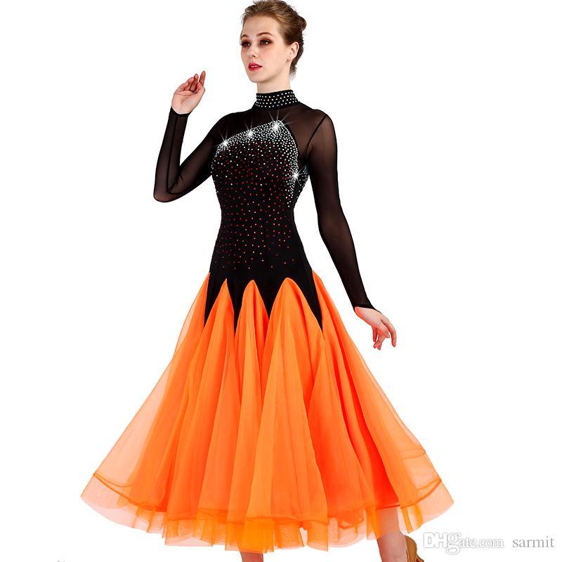 2018 Индивидуальные Бальные Танцы Конкурс Платья Стандартный Танец Платья Бальное Платье D0448 С Длинным Рукавом Стразы Большой Чистой Подол