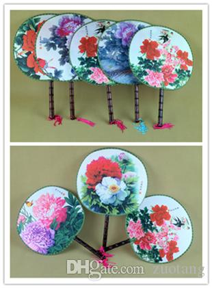 Big Flower Round Hand Held Fan Handle Traditional Craft Chinese Silk Dancing Fans Personalized Wedding Favors Fan 100pcs/lot