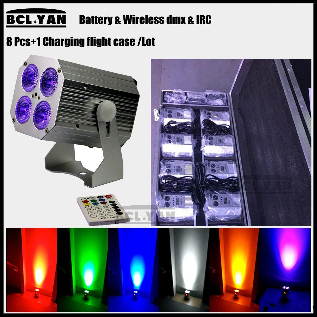 Hot sale factory Wireless DMX LED Par 4x18W RGBWA UV 6 N1 Wash Light Stage Uplighting Freedom Hex 4 remote 8pcs with case