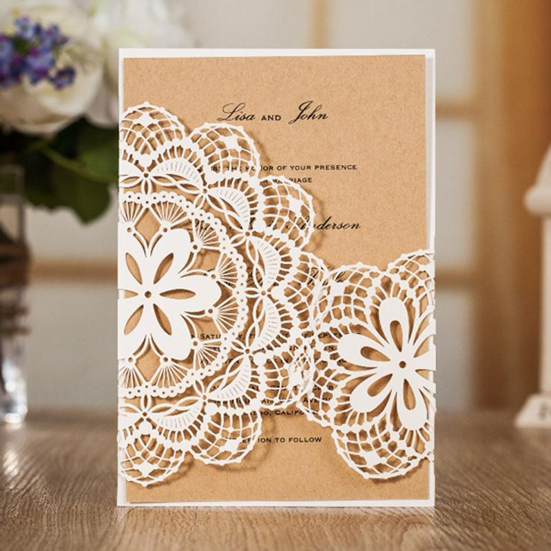 Rustic Lace Wedding Invitation, White Laser-Cut Wedding Invites, Printable Invitation Cards With Envelope - set of 50