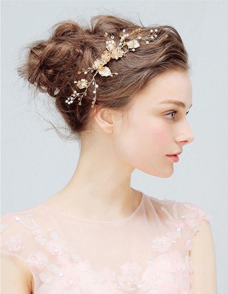 Elegant Headdress Bridal Wedding Hair Combs for Bride Crystal Pearls Women Hairpins Gold Bridal Headpiece Fashion Hair Jewelry Accessories