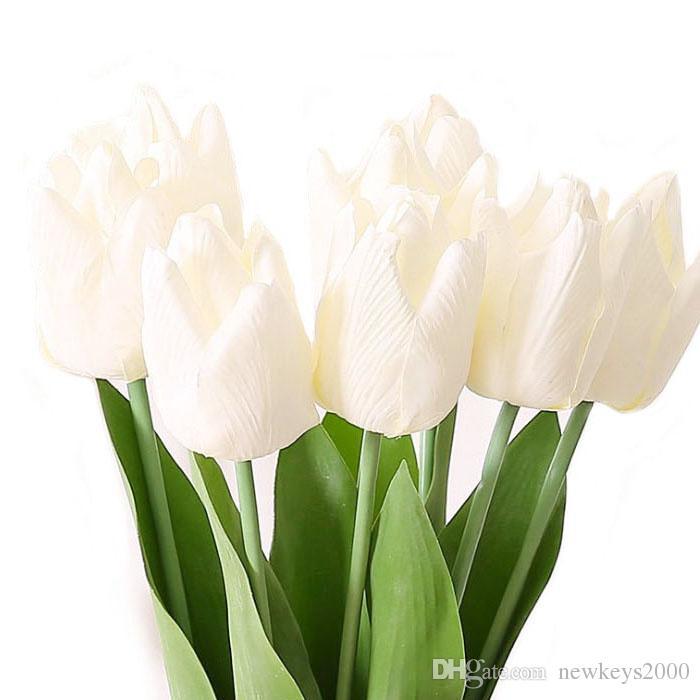 """20 """" Тюльпан стебель искусственный цветок в белый розовый большой реальный сенсорный тюльпаны для Открытый сад decorationbridal букет или свадьба центральным"""