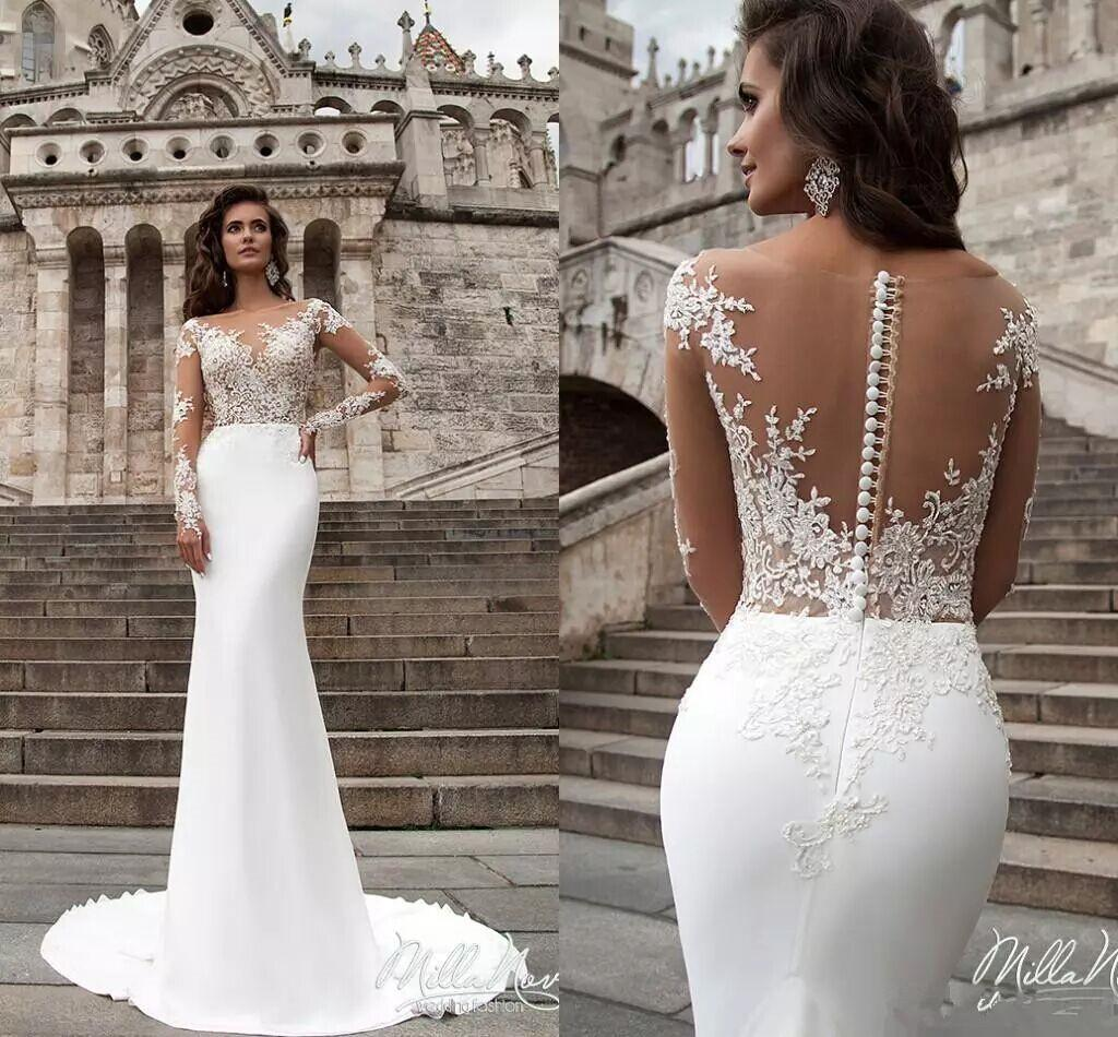 Sexy Lace Wedding Dresses Milla Nova Sheer Long Sleeves Applique Backless Wedding Gowns Button Back Summer Bohemian Bridal Gowns Sweep Train Discount