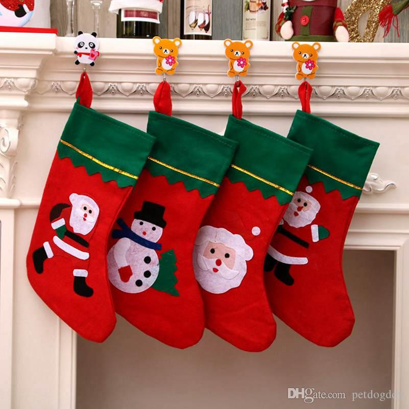 New Christmas Tree Decoration Christmas Stocking Show Window Hang Decorations Xmas Stocking Gift Bags Felt Cloth Christmas Tree Sock Wholesa
