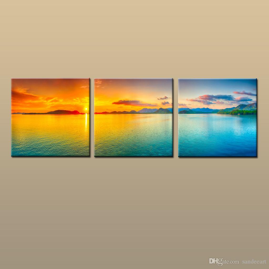 مؤطر / غير المؤطرة نشيط الحديثة قماش جدار الفن المعاصر طباعة اللوحة شاطئ الغروب البحرية صورتي 3 قطعة غرفة المعيشة ديكور المنزل ABC040