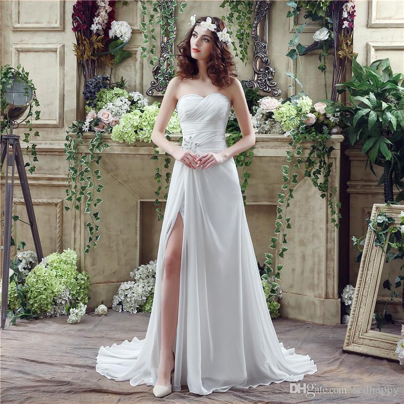 MAGGIEISAMAZING Venta al por mayor cariño deshuesado vestido simple vestido de novia de playa Vestidos de novia de una línea con tren de barrido CYH000020251
