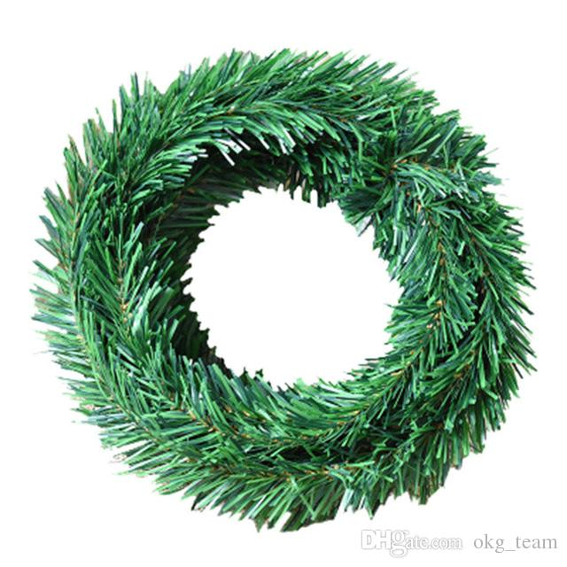 Xmas Home Green Pine Needle Garland vine 5.5M Green leaf Christmas party plastic pendant Tinsel hanging Decorations Leaves
