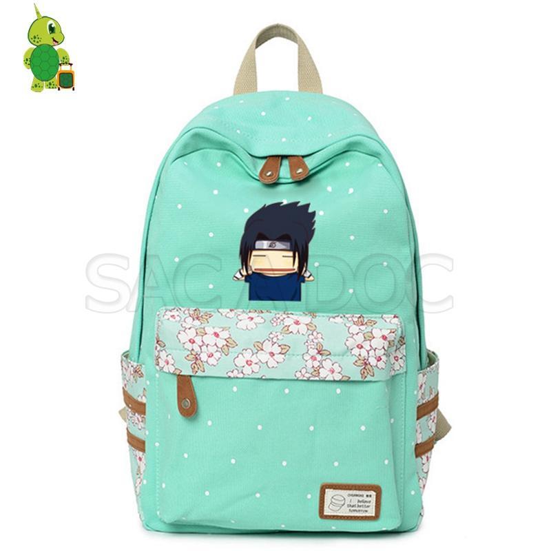 Anime Naruto Leinwand Rucksack Naruto Sasuke Kakashi Blume Welle Punkt Täglich Laptop Rucksack für Jugendliche Frauen Schule Reisetaschen
