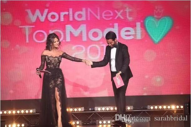 Vestidos De Festa Black Lace Sexy Celebrity Prom Dresses Bateau Sheer Long Sleeves Arabic Formal Evening Gowns Side Slit