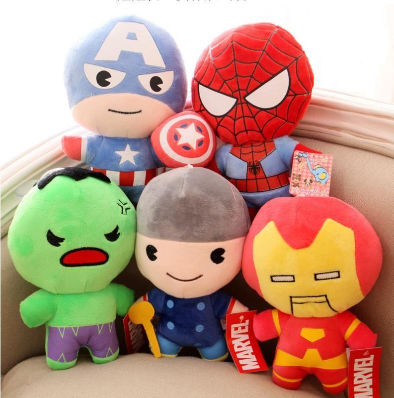 5 Styles Marvel Captain America Iron Man Hulk Thor Spider-Man Plush Toys Dolls