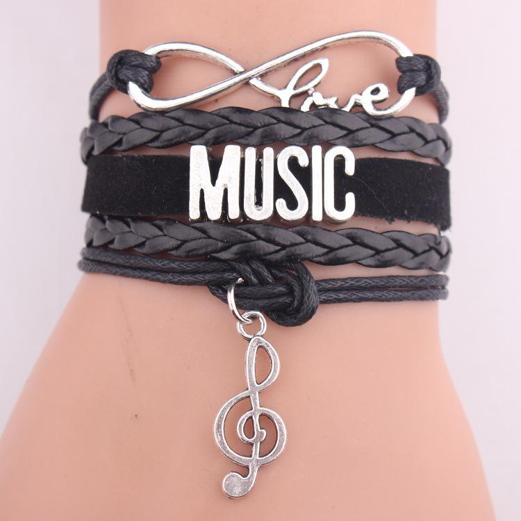 Infinito amor música pulsera nota encanto envoltura de cuero hobby pulseras brazaletes para mujeres hombres joyería de la pulsera