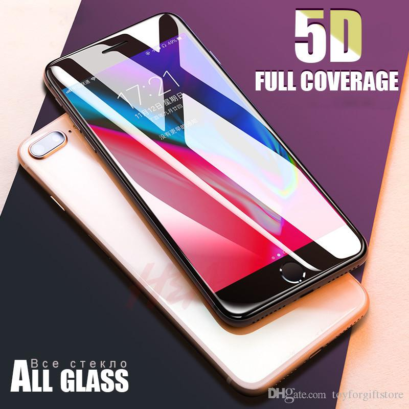 New 5D Full Cover Edge Tempered Glass For iPhone 7 8 6 Plus Screen Protector For iPhone 6 6s 7 Plus Film Protection Glass