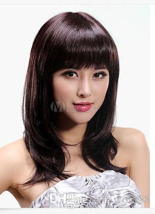FIXSF829 pelucas de peluca de cabello natural marrón medio recto de moda mediana para mujeres