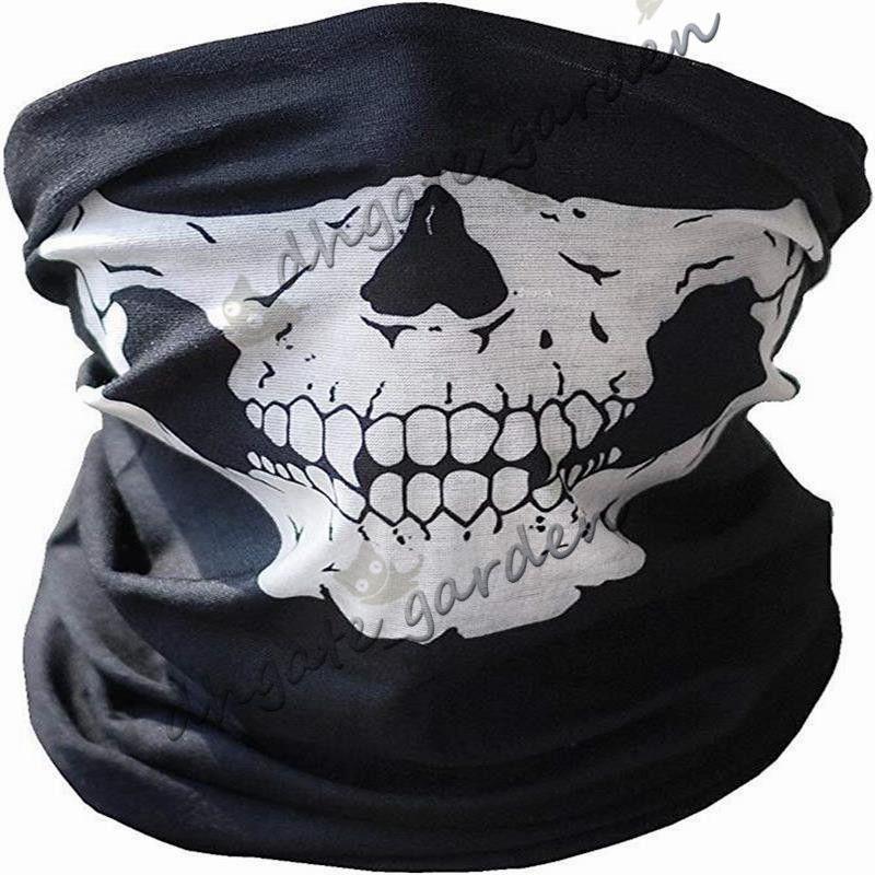 Halloween Masks Skull Bike Helmet half Face Mask Outdoor Paintball Ski Sport Motorcycle Headband Neck Warmer Mask Scarf Party Supplies